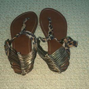 Leopard & Bronze Sandals